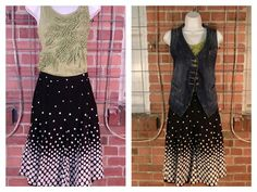 Caslon green sleeveless top, fabric ruffle accents M $10; GNW black white polka dot print skirt 12 $10; CAbi denim vest M $12