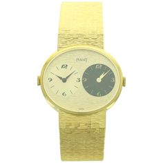 Piaget Yellow Gold Dual-Time Wristwatch Ref 612501 | From a unique collection of vintage wrist watches at https://www.1stdibs.com/jewelry/watches/wrist-watches/