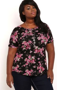 Deb Shops Plus Size Short Sleeve Floral Print Tee Shirt $8.50