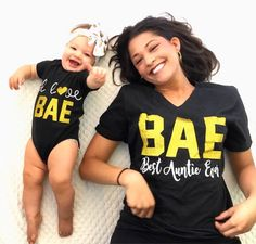 Excited to share the latest addition to my #etsy shop: BAE Best Auntie Ever, I Love Bae, Matching Aunt/Niece Shirts, Aunt Life, Niece Life, Sparkle, Trendy, Funny Vneck Loose Fit, matching baby. #clothing #women #tshirt #birthday #bae #bestauntieever #auntshirt #nieceshirt #matchingauntniece