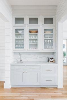 Sherwin Williams Repose Gray, Coastal Bedrooms, Coastal Living Rooms, Grey Kitchen Cabinets, Painting Kitchen Cabinets, Kitchen Counters, Soapstone Kitchen, Gold Kitchen, Bar Kitchen