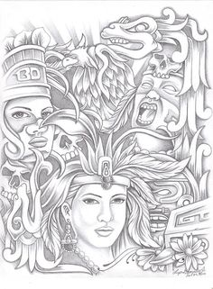 Aztec Drawings   Aztec Drawing by Lupe Gonzalez - Aztec Fine Art Prints and Posters for ...