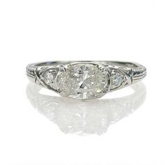 Love the east-west oval diamond setting...Leigh Jay Nacht Inc. - Replica Edwardian Engagement Ring - 2663-03