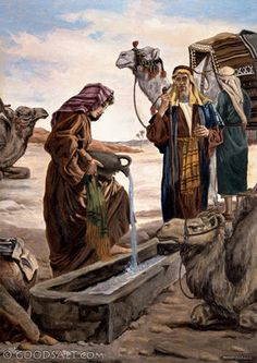 Genesis Rebecca at the well waters the camels of Abraham's servant Religious Pictures, Bible Pictures, Jesus Pictures, Religious Art, Lds Art, Bible Art, Arte Judaica, Christian Pictures, Bible Illustrations