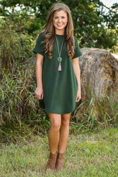 Down To A T-Shirt Dress-Olive - Fall First Look - Shop By Trend | The Red Dress Boutique
