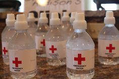 Medical Theme Party - Water Bottles made on iMac using pages.  Printed on photo paper and attached with glue gun