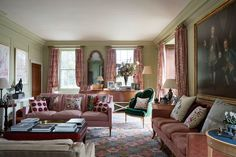 A pink and green living room in Edward Bulmer& Queen Anne house, with patterned pink curtains made from bedcovers by Anokhi in India. Diy Living Room Decor, Living Room Green, Living Room Designs, Home Decor, English Country Decor, Country Farmhouse Decor, Country Kitchen, Long Room, Country Style Homes