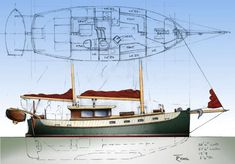 Pilot Bay Cold-molded Traditional Liveaboard Ketch ~ Sail Boat Designs by Tad Roberts Best Boats, Cool Boats, Small Boats, Liveaboard Sailboat, Sailboat Plans, Classic Sailing, Boat Building Plans, Yacht Boat, Tug Boats