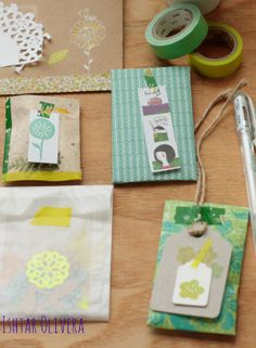 Happy mail project - lovely tags in green and yellow