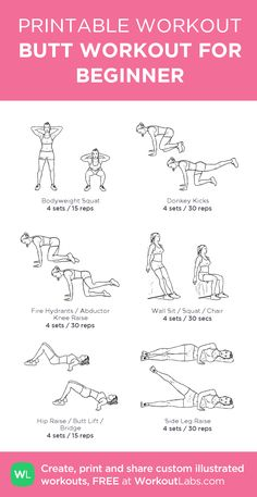 BUTT WORKOUT FOR BEGINNER: my visual workout created at WorkoutLabs.com • Click through to customize and download as a FREE PDF! #customworkout