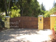 Spanish Style Wooden Gates | gates style #6 in Los Altos, CA, accompanied by the pedestrian gate ...