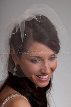 Bridal Birdcage Veil Tulle 11 Inch Blusher by brendasbridalveils, $44.95