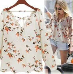 CHSDCSI Fashion Woman Blusa Elegant Floral Blouse Casual Vintage Shirt Quality Brand Blusinhas Tops Blusas Camisas Plus Size Fashion 2017, Fashion Outfits, Womens Fashion, Dress Trousers, Mode Hijab, Chiffon Shirt, Sewing Clothes, Pretty Outfits, Casual Chic