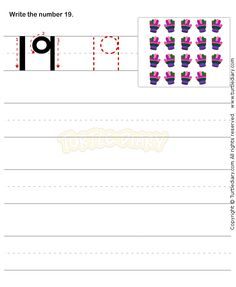 Number Writing Worksheet 19 - math Worksheets - preschool Worksheets