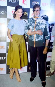 Deepika Padukone and Amitabh Bachchan at the trailer launch of 'Piku'. #Bollywood #Fashion #Style #Beauty #Handsome