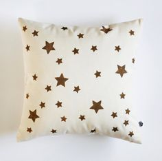 Decorative pillow cover gold STARS hand printed on by pillowlink, $29.00