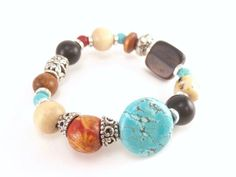 Orange Wood Turquoise Black Stone Stretch by ChristinesJewelry, $12.00