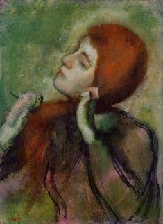 Woman Combing Her Hair, Edgar Degas  Medium: oil on canvas