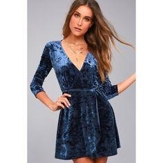 Lulus Shine of Your Life Navy Blue Crushed Velvet Wrap Dress ($54) ❤ liked on Polyvore featuring dresses, blue, navy skater skirt, 3/4 sleeve dress, navy wrap dress, fitted dress and blue fitted dress