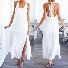 Stylish Scoop Neck Sleeveless Hollow Out Furcal Women's Dress