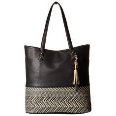 Jessica Simpson Brandi Tote (Straw Black/Black) Tote Handbags (€77) ❤ liked on…