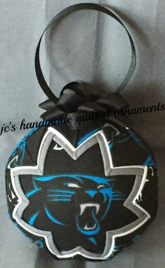 CAROLINA PANTHERS Quilted Ornament Made From Panthers Fabric,Carolina Panthers Ornaments,Carolina Panthers,Quilted Ornaments,Sports Decor by JCQuiltedOrnaments on Etsy