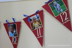 1st birthday party banner with 1 picture for each of the first 12 months!