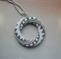 Mandala beaded Pendant gray-white by DONAULUFT