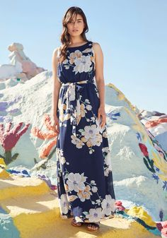 You're Flowing Places Dress. Some see soirees as mere opportunities to look pretty, but you don this navy blue maxi dress with networking in mind! #multi #wedding #modcloth