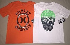 Boys size M 10 / 12 Hurley Surf Shirt Lot of 2 Skull Shark Orange / White Nwt