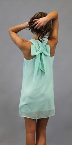 mint green dress <3 the back-bow