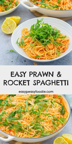 Quick, simple and delicious, this Easy Prawn and Rocket Spaghetti is the perfect meal to make when time is short, but you still want to eat well. This recipe tastes like something you'd get from a really good Italian restaurant and yet it takes just 15 minutes from start to finish! #prawns #rocket #arugula #spaghetti #pasta #prawnspaghetti #prawnpasta #easyentertaining #easymidweekmeals #easymeals #midweekmeals #easydinners #dinnertonight #dinnertonite #familydinners #familyfood… Best Fish Recipes, Yummy Pasta Recipes, Supper Recipes, Seafood Recipes, Easy Dinner Recipes, Great Recipes, Recipe Ideas, Prawn Spaghetti, Prawn Pasta