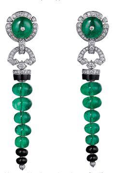 Tendance Bracelets Особое посольство Tendance & idée Bracelets Description Platinum earrings with emeralds diamonds and onyx Sortilège de Cartier Cartier. Art Deco Earrings, Art Deco Jewelry, High Jewelry, Resin Jewelry, Modern Jewelry, Jewelry Design, Bullet Jewelry, Geek Jewelry, Designer Jewelry