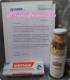 elmex Kariesschutz Professional Zahncreme und Kekse aus der Flasche.