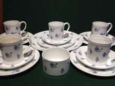 17x Piece Set Crown Staffordshire China ELSINORE - Inc  5x Trios