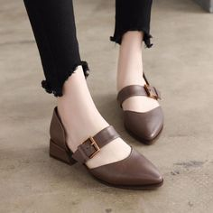8f0d4c27ff1c Summer Leather Mid Heels Coffee Sandals Women Shoes X1162