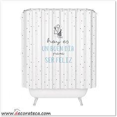 """Original cortina de ducha """"Hoy es un buen día para ser feliz"""" en blanco, negro y azul mint. Decoración de baños con frases y mensajes positivos. WWW.DECORATECA.COM"""