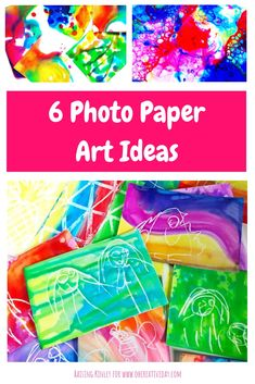 PHOTO PAPER ART – Do you have an old pack of photo paper sitting in a forgotten spot somewhere in your house? Cara from Raising Kinley shares 6 colourful and fun photo paper art ideas. - Education and lifestyle Painting For Kids, Art For Kids, Crafts For Kids, Kids Fun, Creative Activities For Kids, Art Activities, Paper Art Projects, Paper Crafts, Diy Crafts