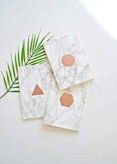 10 minute DIY: Graphic copper and marble notebook
