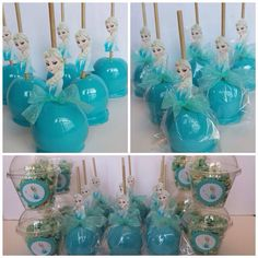 Blue chocolate apples, elsa themed, frozen themed apples. Frozen party ideas. Froze. Party food.