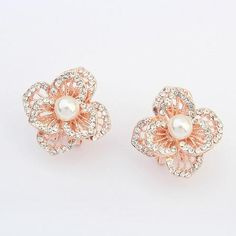 Women's Fashion Hollow Rhinestone Pearl Flower Earrings, QZ416