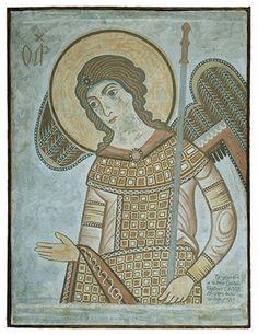 ΦΩΤΗΣ ΚΟΝΤΟΓΛΟΥ: Ο αρχάγγελος Γαβριήλ, έως την οσφύ 1930. Φορεί αυτοκρατορική ενδυμασία και κρατεί σκήπτρο. Η πρωτότυπη παράσταση ανήκει στις τοιχογραφίες του τρούλου του βορείου παρεκκλησίου της Σπηλιάς Πεντέλης. Οι τοιχογραφίες αυτές, που χρονολογούνται στο 1233/1234, έχουν αποτοιχισθεί και φυλάσσονται σήμερα στο Βυζαντινό Μουσείο. Το αντίγραφο φιλοτέχνησε ο Φώτης Κόντογλου (1895-1965) την εποχή που εργαζόταν ως συντηρητής στο Μουσείο (1930-1931). Pub, Orthodox Icons, Heaven On Earth, Byzantine, Greece, Mosaic, Princess Zelda, Culture, Embroidery