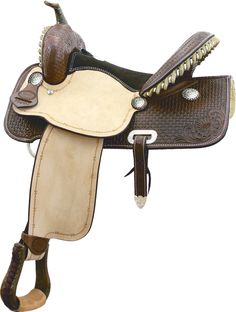 BILLY COOK FLEX FLYER BARREL RACER SADDLE DESCRIPTION: This saddle features a Roughout seat jockey and fenders with a Barbed Wire border, Show Walnut skirts and swell with bamboo weave and floral corn