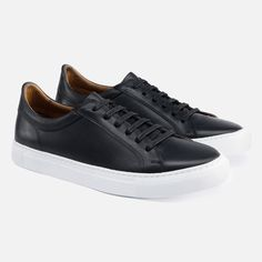 000d64a3f40  SECONDS  Alba Low Top Sneakers - Black Leather Classic Sneakers
