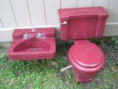 1956 Vintage Bathroom Fixtures Sink & Toilet Pursian Red CRANE Merit make offer  #Crane