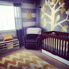 Purple, Grey and Yellow nursery with some modern and traditional touches.