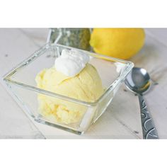 Lemon Curd Ice Cream with Lavender Whipped Cream « FoodPornDaily  ... ❤ liked on Polyvore featuring food and food photos