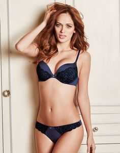 Love a good push-up? You'll love this look with an add-two-cup-lift! Meet our bold twilight blue Corrine with a plunging neckline and push-up padding for extra sexy cleavage. This sultry style features a black peony lace overlay and rhinestone droplet charm details. Complete the look with a super sexy lace-paneled thong!