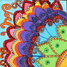 Rangoli + Mehendi = beautiful art. Read more about this painting at http://viewthroughmykaleidoscope.wordpress.com/2014/04/08/my-favorite-thing-to-do/