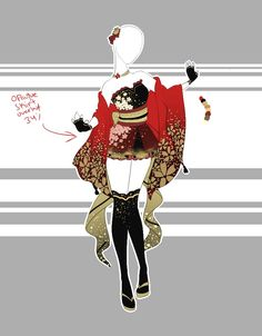 ::Outfit Adoptable by Scarlett-Knight on DeviantArt - .::Outfit Adoptable by Scarlett-Knight on DeviantArt - Anime Kimono, Anime Dress, Drawing Anime Clothes, Dress Drawing, Clothing Sketches, Dress Sketches, Fashion Design Drawings, Fashion Sketches, Drawing Fashion